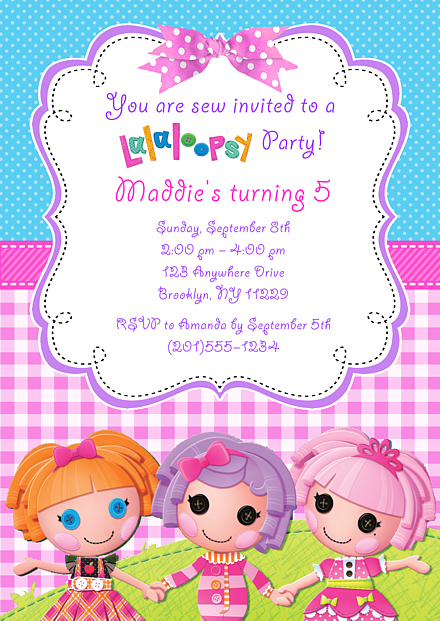 lalaloopsy doll birthday party invitations lalaloopsy doll birthday ...