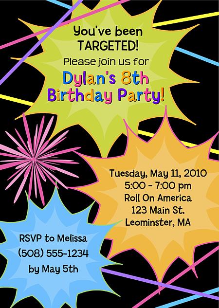 Laser Tag Birthday Party Invitations | Laser Tag | Sports ...
