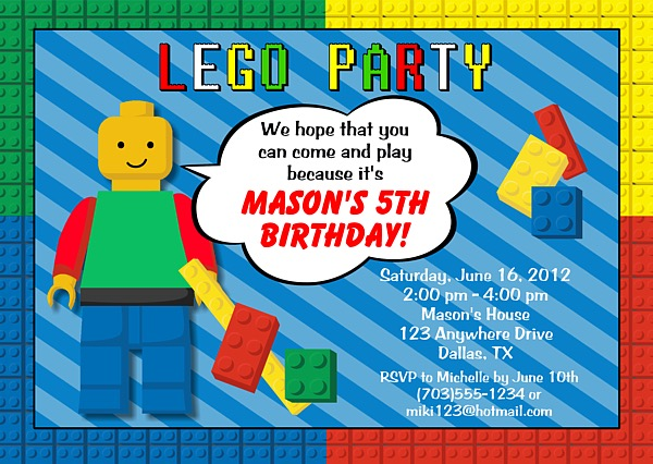 Lego Birthday Party Invitations Construction Kids Birthday