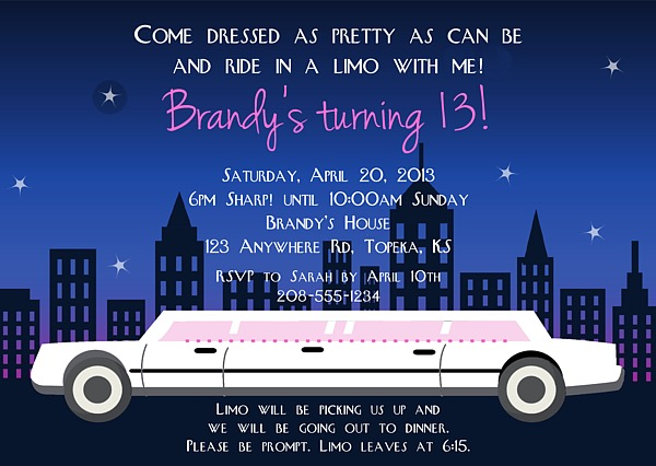 Limousine limo birthday party invitations girl bachelorette bridal limousine stopboris Image collections