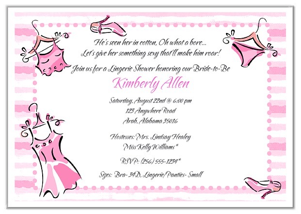 Bridal Shower Lingerie Bachelorette Party Invitations – Lingerie Party Invite