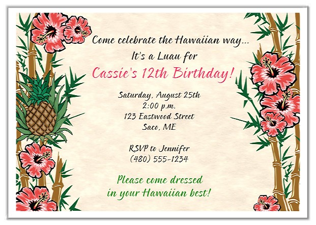 Tropical Luau Birthday Party Invitations Luau Kids Birthday