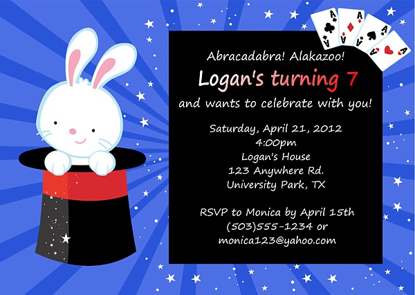 Magic Themed Birthday Party Invitations Magic – Magic Party Invitations