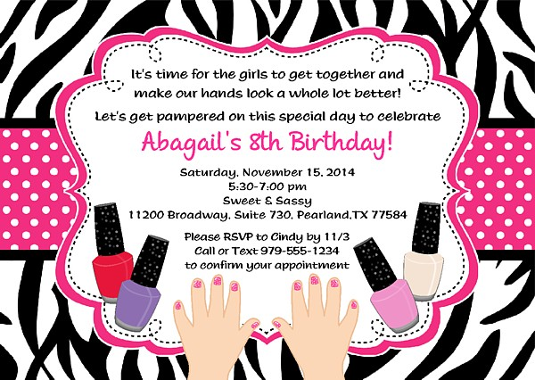 zebra manicure spa birthday party invitations  glamour makeover, invitation samples
