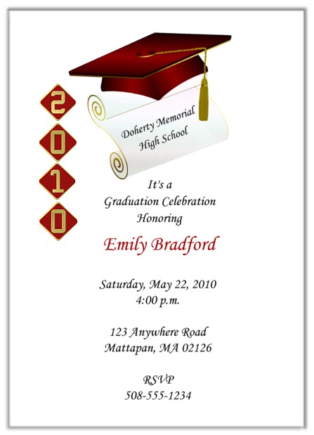 Graduation Invitations Personalized School Colors