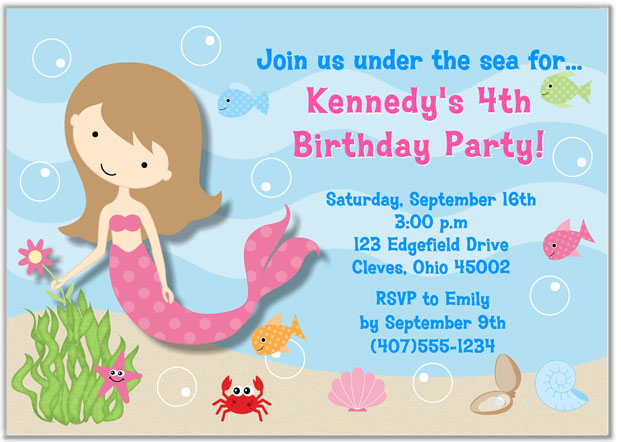 Mermaid Birthday Party Invitations Mermaid Kids Birthday