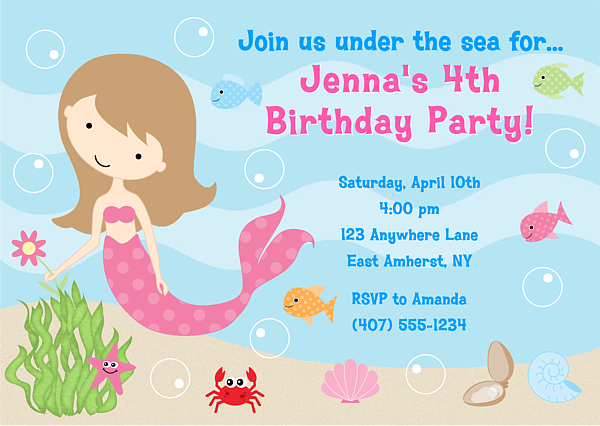 Mermaid Birthday Party Invitations is an amazing ideas you had to choose for invitation design