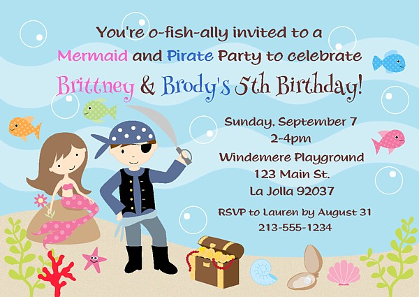 Mermaid and Pirate Birthday Party Invitations Mermaid – Pirate Party Invite