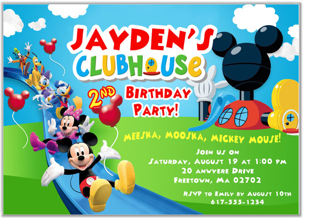 Mickey Mouse Clubhouse Birthday Party Invitations Disney Kids