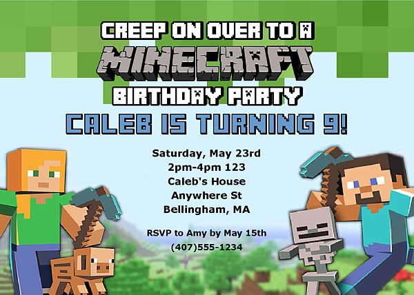Minecraft Birthday Invitation Template with perfect invitation sample