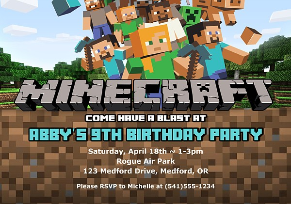 Minecraft Birthday Party Invitations | Kids Birthday