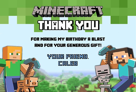 Minecraft Thank You Cards Personalized
