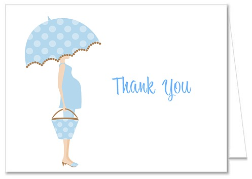 Mod Mom Trendy Boy Blue Baby Shower Thank You Note Cards