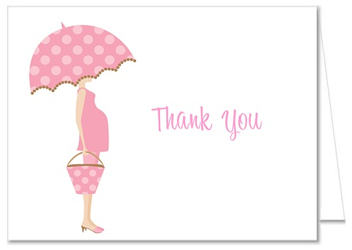 Mod Mom Trendy Girl Pink Baby Ser Thank You Note Cards