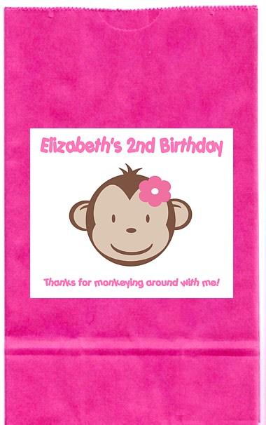 Mod Monkey Girl Birthday Party Girl Personalized Goodie ...