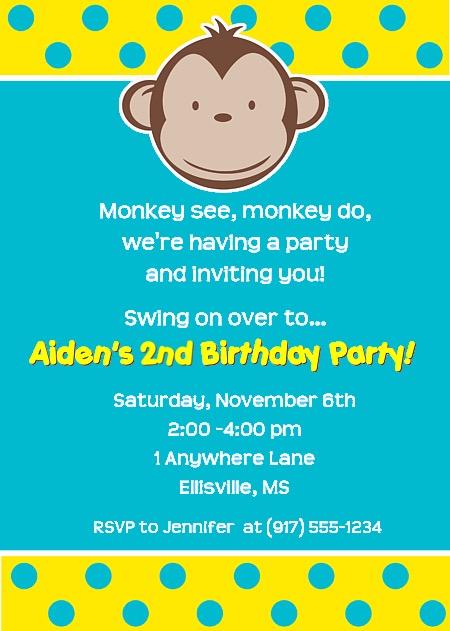 Mod Monkey Birthday Party Invitations