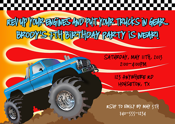 Monster Truck Birthday Party Invitations Monster Truck Kids