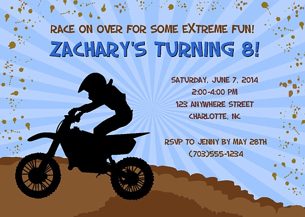 dirt bike motocross birthday party invitations