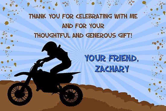 dirt bike motocross thank you cards personalized
