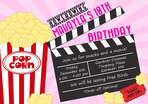Movie Themed Birthday Party Invitations Movies Kids Birthday