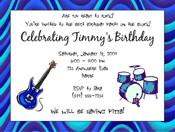 music guitar birthday party invitations music kids birthday. Black Bedroom Furniture Sets. Home Design Ideas