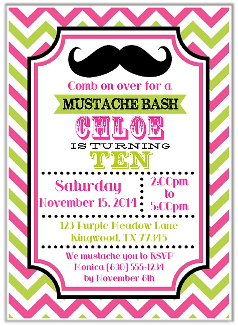 mustache girl birthday party invitations - Girl Birthday Party Invitations