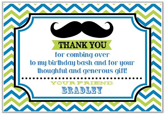 Mustache Thank You Cards Personalized