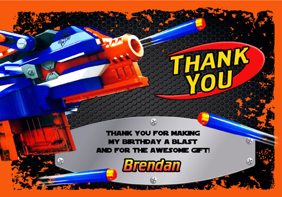 Nerf Thank You Cards Personalized