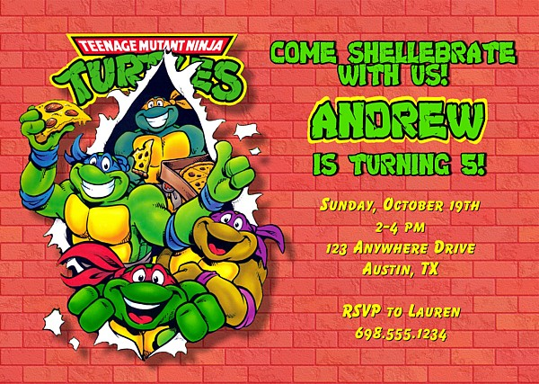 Teenage Mutant Ninja Turtles Birthday Party Invitations – Turtle Birthday Invitations