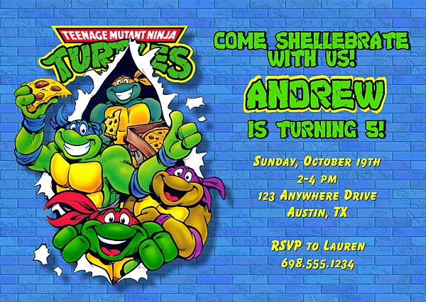 Teenage Mutant Ninja Turtles Birthday Party Invitations