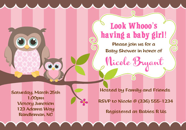 invitations owl party xyz girl shower baby