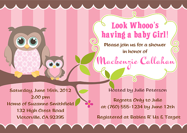 owl baby shower invitations girl baby shower