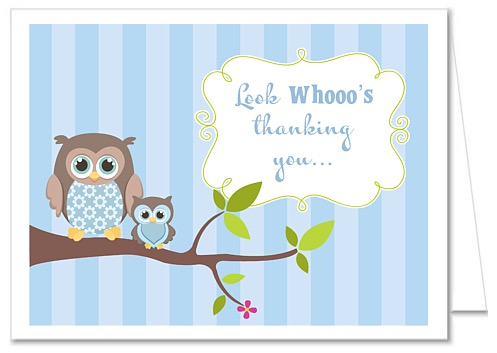 Owl Boy Baby Shower Thank You Note Cards