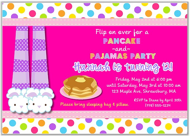 Pancakes and pajamas birthday party invitations slumber party pajamas birthday party invitations pancakes filmwisefo