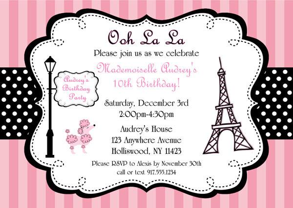 Parisian Birthday Party Invitations Pink Poodle Kids Birthday