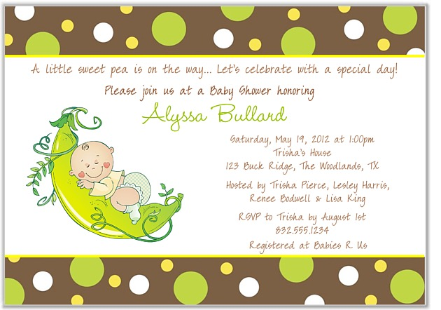 Pea in a pod baby shower invitations baby shower filmwisefo