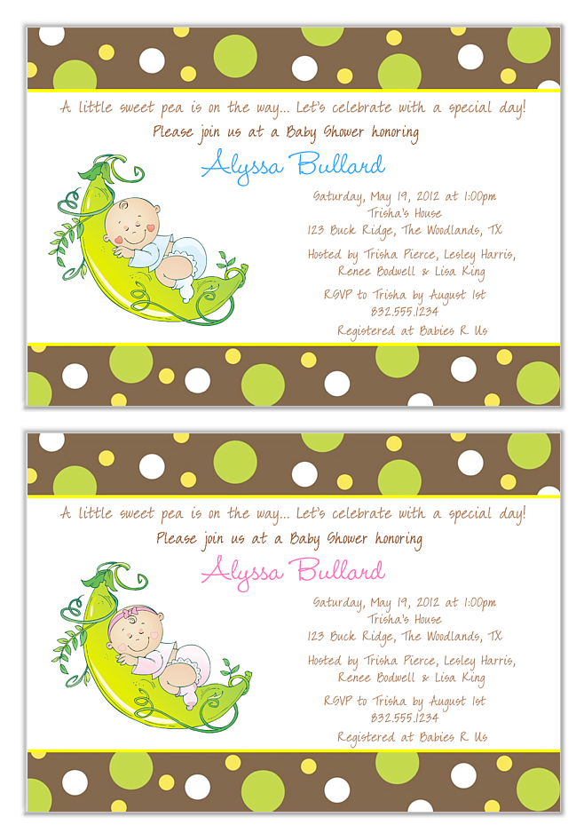 Pea in a Pod Baby Shower Invitations | Baby Shower