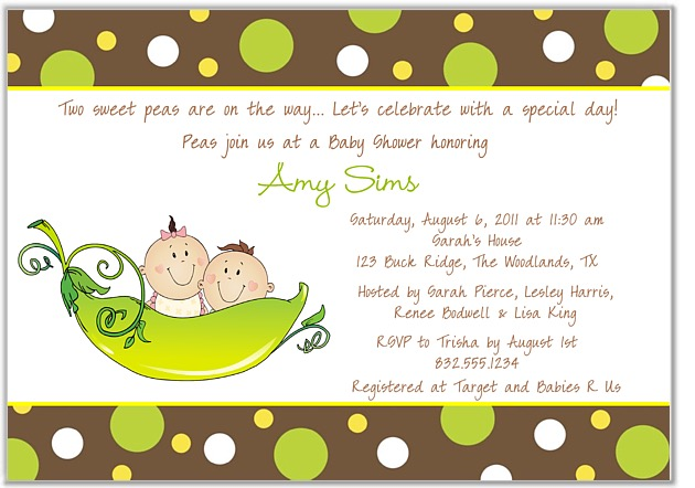 two peas in a pod twins baby shower invitations boy girl | baby shower, Baby shower invitations