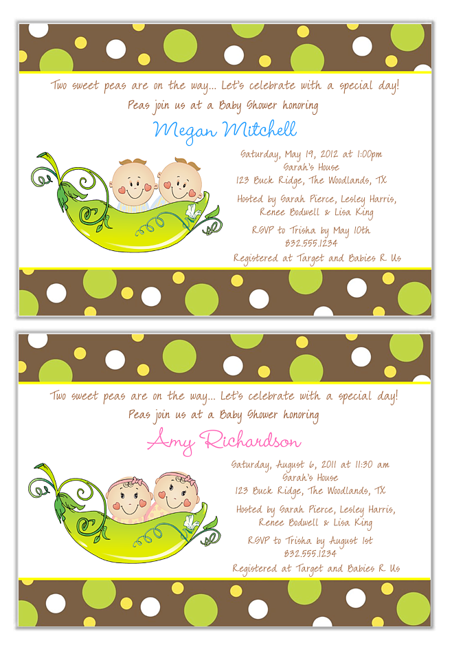 two peas in a pod twins baby shower invitations boy girl
