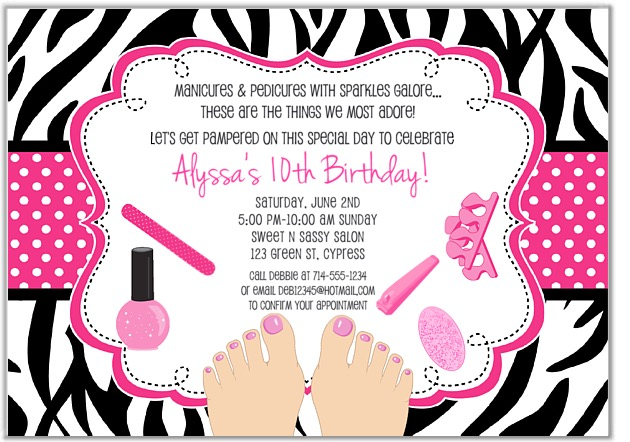 zebra pedicure spa birthday party invitations | glamour makeover, Birthday invitations