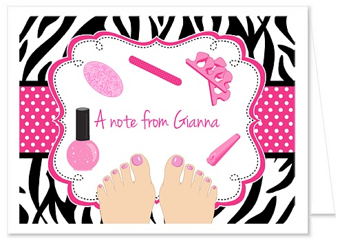Zebra Pedicure Spa Party Thank You Note Cards Personalized – Pedicure Party Invitations