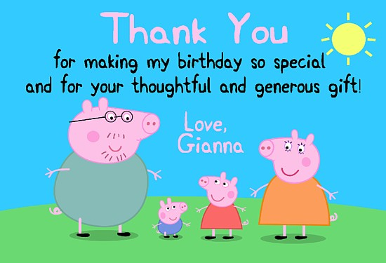 Peppa The Pigthank You Cards Personalized