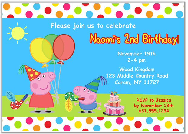 Peppa The Pig Birthday Party Invitations