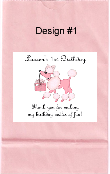 Pink Poodle Birthday Party Goodie Loot Bag Labels Favors