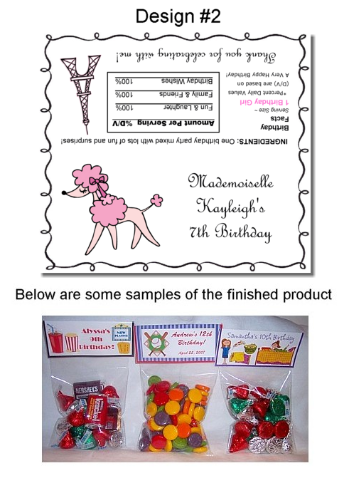 Pink Poodle in Paris Birthday Party Bag Toppers Favors
