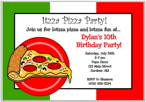 Pizza Party Invitations Custom Invitations