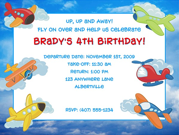 Catalog Airplane Birthday Party Invitations