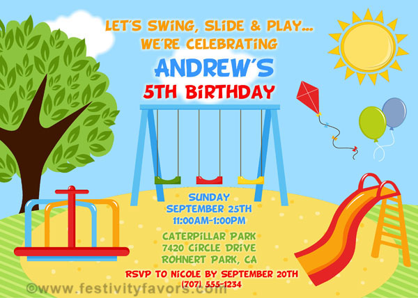 Playground birthday party invitations kids birthday catalog playground birthday party invitations playground filmwisefo Gallery