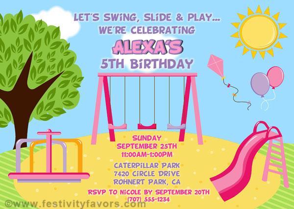 Playground Birthday Party Invitations – Playground Birthday Invitations
