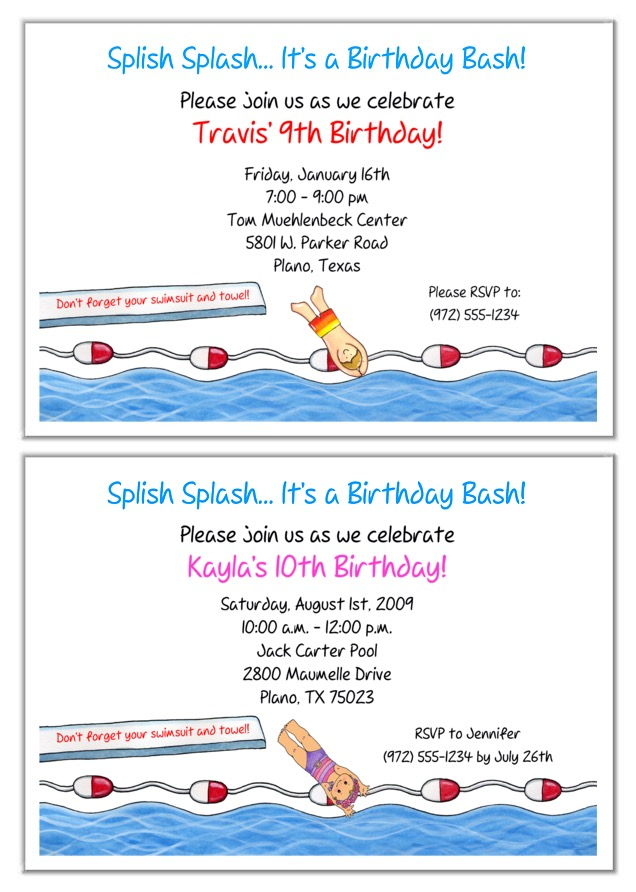 Swimming Pool Party Birthday Invitations